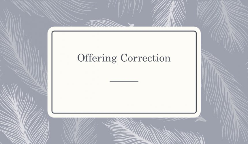 Offering Correction